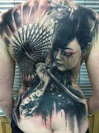sad geisha tattooed geisha and