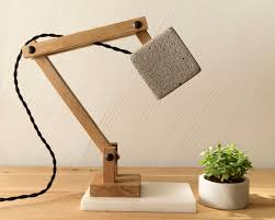 handcrafted wooden table lamp light concrete desk lamp cement