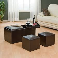 Ottoman Table Leather Ottoman With Double Tray Table With Storage And 2 Chairs