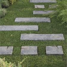 plaque ardoise jardin traverse en pierre reconstituée stonewood imitation bois leroy