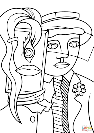 stepping out by roy lichtenstein coloring page free printable
