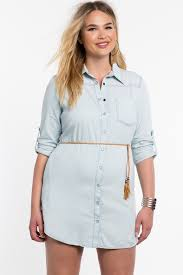 women u0027s plus size day dresses braid belt chambray shirt dress