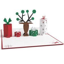 christmas card 3d reindeer with presents pop up christmas card lovepop
