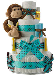 monkey 4 tier teal diaper cake baby shower diaper cakes unique