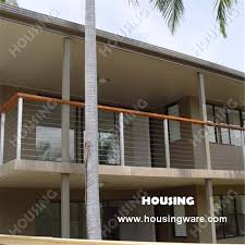Wire Banister Steel Cable Wire Railing Balustrade With Round Post And Square
