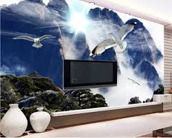online get cheap wallpaper print scenery white aliexpress com papel de parede adesivo custom 3d wall mural wallpaper mountain blue sky and white clouds scenery
