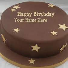 write name on chocolate stars cake happy birthday cake with name