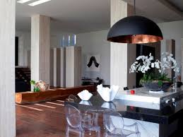 kitchen 3 rustic copper pendant lamps over the kitchen island