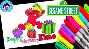 sesame street happy birthday elmo coloring sharpie crayola