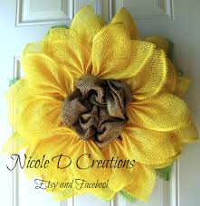 burlap sunflower wreath yellow paper flower tutorial trendy tree decor