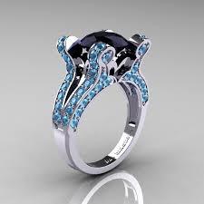 black and blue wedding rings vintage 14k white gold 3 0 ct black diamond blue topaz
