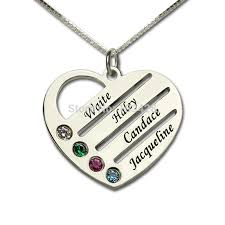custom engraved heart necklace personalized family necklace necklace with kids names engraved
