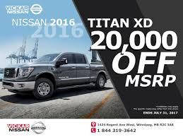 nissan armada for sale winnipeg vickar nissan 20 000 off the msrp on all 2016 titan xd chez vickar