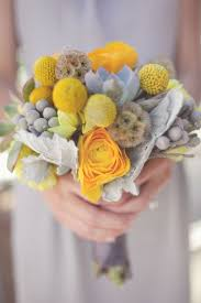 Billy Balls Picture Of Textural Yellow And Grey Bouquet With Billy Balls