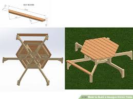 Free Woodworking Plans Hexagon Picnic Table by How To Build A Hexagon Picnic Table With Pictures Wikihow