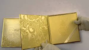 Embossed Invitation Cards D 6069 Gold Color Shimmery Finish Paper Exclusive Invitations