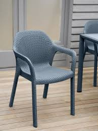 Patio Stack Chairs Jessamine Stackable Plastic Patio Dining Chair Woven Wicker Look