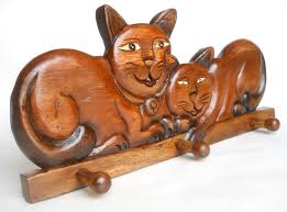 cat home decor decoration vintage solid wooden hanger two beauty cats home décor