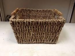 Seagrass Bathroom Storage Jute Seagrass Laundry Bathroom Storage Organizer Basket Wood