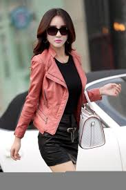 pink leather motorcycle jacket spring women leather jackets plus size blends sheepskin leather