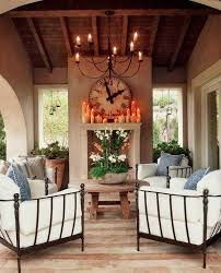 Shabby Chic Fireplaces by Covered Outdoor Fireplace Patio Shabby Chic Style With Wood Table