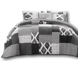 Grey Quilted Bedspread Dada Bedding Classical Shades Of Grey Patchwork Bedspread Jhw 606