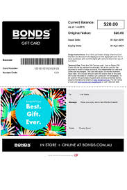 gift card email bonds gift card email gift vouchers from bonds