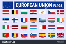 Union Flags European Union Flags Names Vector Illustration Stock Vector