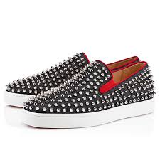 top class christian louboutin black rollerboy spikes suede flats mens