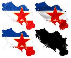 Yugoslavia Map Former Federal Republic Of Yugoslavia Flag Over Map Collage Stock