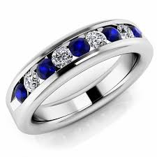 mens blue wedding bands alternating sapphire diamond men s channel set ring wedding band