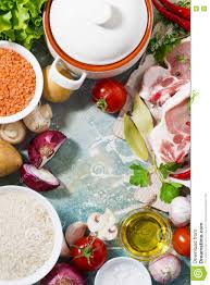 meat and fresh foods for cooking soup vertical top view stock