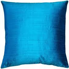 silk peacock home decor peacock blue silk throw pillow 18x18