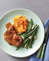 chili braised pork with green beans and mashed sweet potatoes