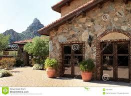 arizona mountainside villa home and courtyard royalty free stock