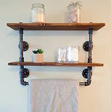 Bathroom Shelves With Towel Rack Industrial Retro Wall Mount Pipe Bathroom Shelf