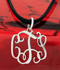 Monogram Necklace Silver Small Sterling Silver Filigree Monogram Necklace Personalized