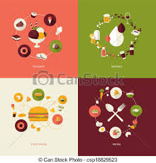 cuisine illustration set of flat icons for restaurant set of flat design concept