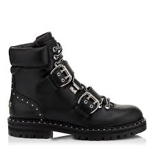 shoes s boots jimmy choo flat black smooth leather biker boots
