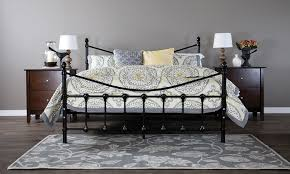 Metal Bed Frames Queen Alderley Black Metal Bed Frame Groupon Goods