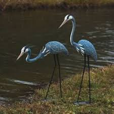 awesome pair of blue heron textured steel metal garden yard pool