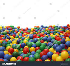 multicolored plastic balls childrens playroom isolated stock photo