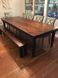 dark rustic dining table james james 9 x42 farmhouse table with a traditional top stained