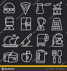 jeu en ligne cuisine jeu d icônes vectorielles en ligne cuisine image vectorielle