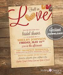 etsy wedding shower invitations fall in bridal shower invitation leaves