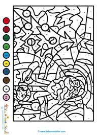 Coloriage de Noël magique à décoder  Coloriage de Noël