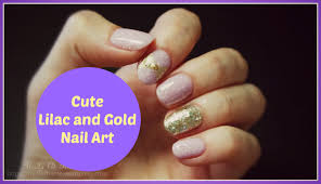 cute lilac and gold nail art youtube