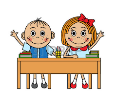 Cartoon Children Sitting At Desk And Pull Hand To Answer