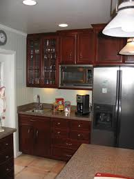 wall hung kitchen cabinets simple red color mahogany wood crown molding wall mounted kitchen