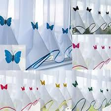 Butterfly Kitchen Curtains Butterfly Voile Curtain With Matching Piping Kitchen Blind
